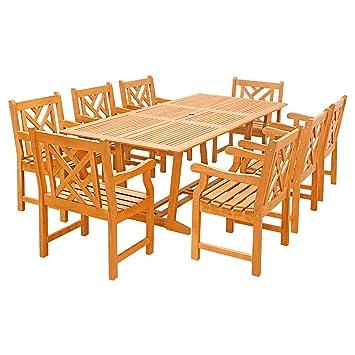 Vifah v232set32 9 piezas al aire libre madera juego de mesa ...