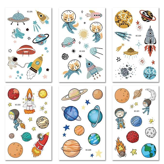 Bibivisa 120x Espacio Exterior Tatuajes Temporales para Niños ...