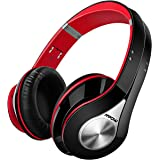Bluetooth Kopfhörer Mpow Over Ear Headset, Over Ear Headset mit, 20 Stunden Spielzeit, CVC 6.0 Noise Canceling, Stereo Wireless Headset & Integriertem Mikrofon Freisprechen (Schwarz & Rot)