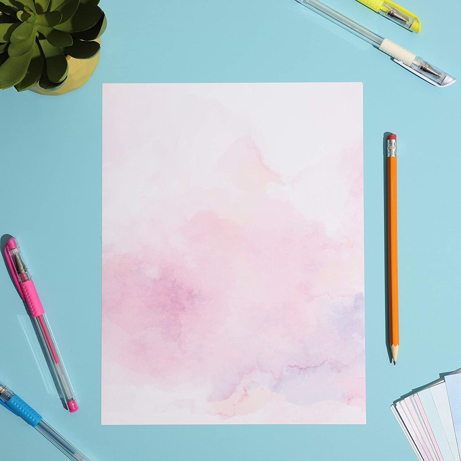60 Sheets Stationary Papers 12 Scenic Watercolor Styles Writing Stationary Papers Letter 8.2 x 11.2 Inches Double Sided Writing Paper
