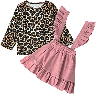 US 2PCS Toddler Kids Baby Girl Autumn Clothes Leopard Tops Dress Skirt Outfits