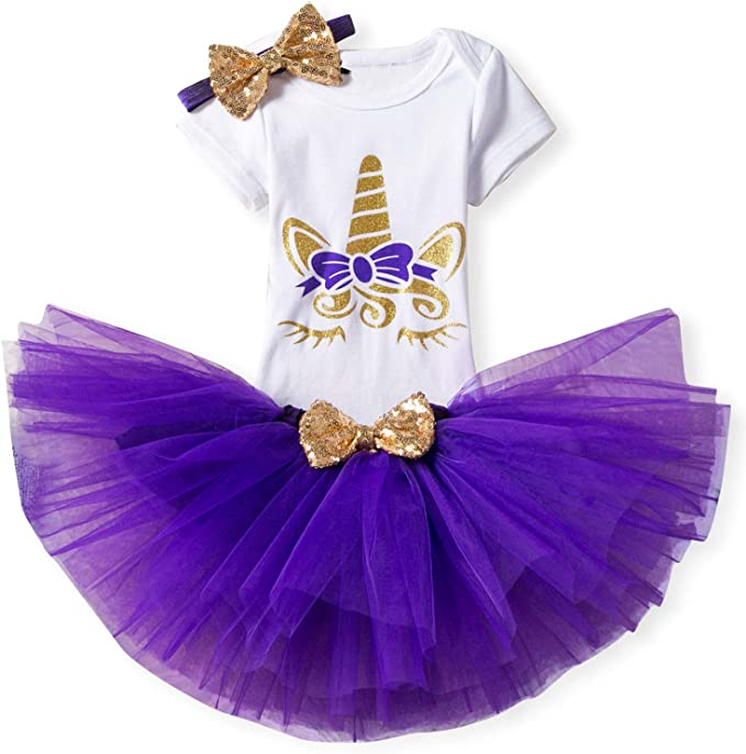 TTYAOVO Baby Girl 1st Birthday 3pcs Unicorn Outfits with Headband & Romper & Skirts