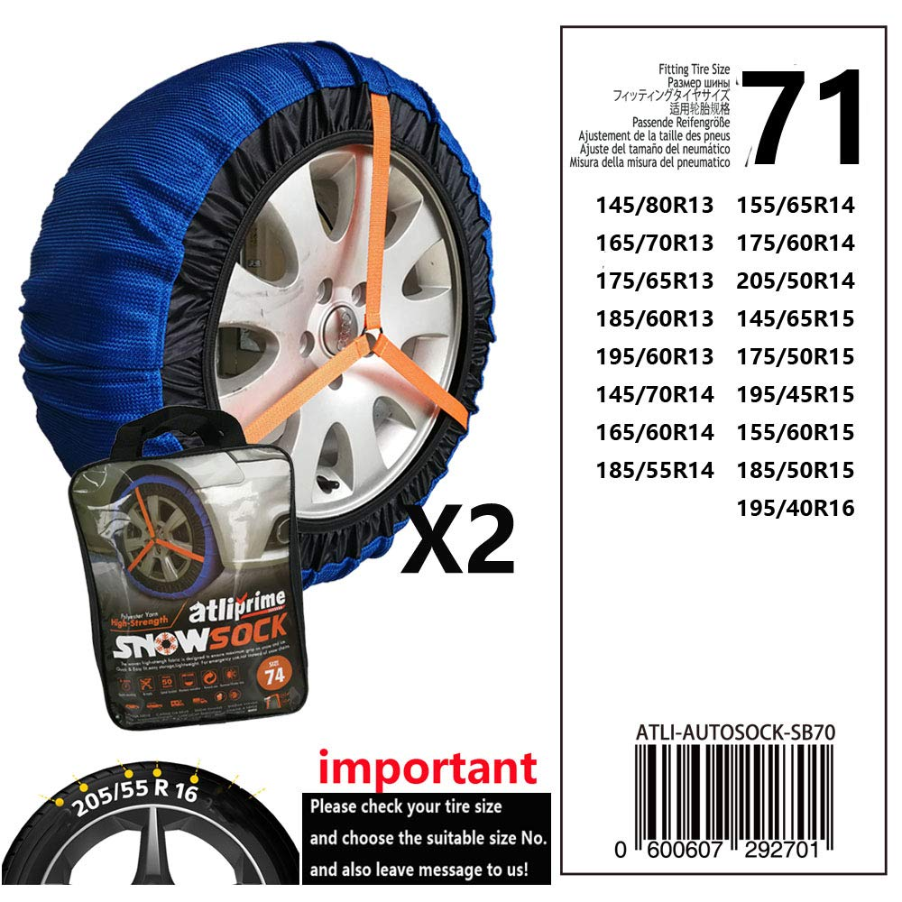 atliprime 2pcs Anti-Skid Safety Ice Mud Tires Snow Chains Auto Snow Chains Fabric Tire Chains Auto Snow Sock on Ice and Snowy Road (AT-SB71) by atliprime