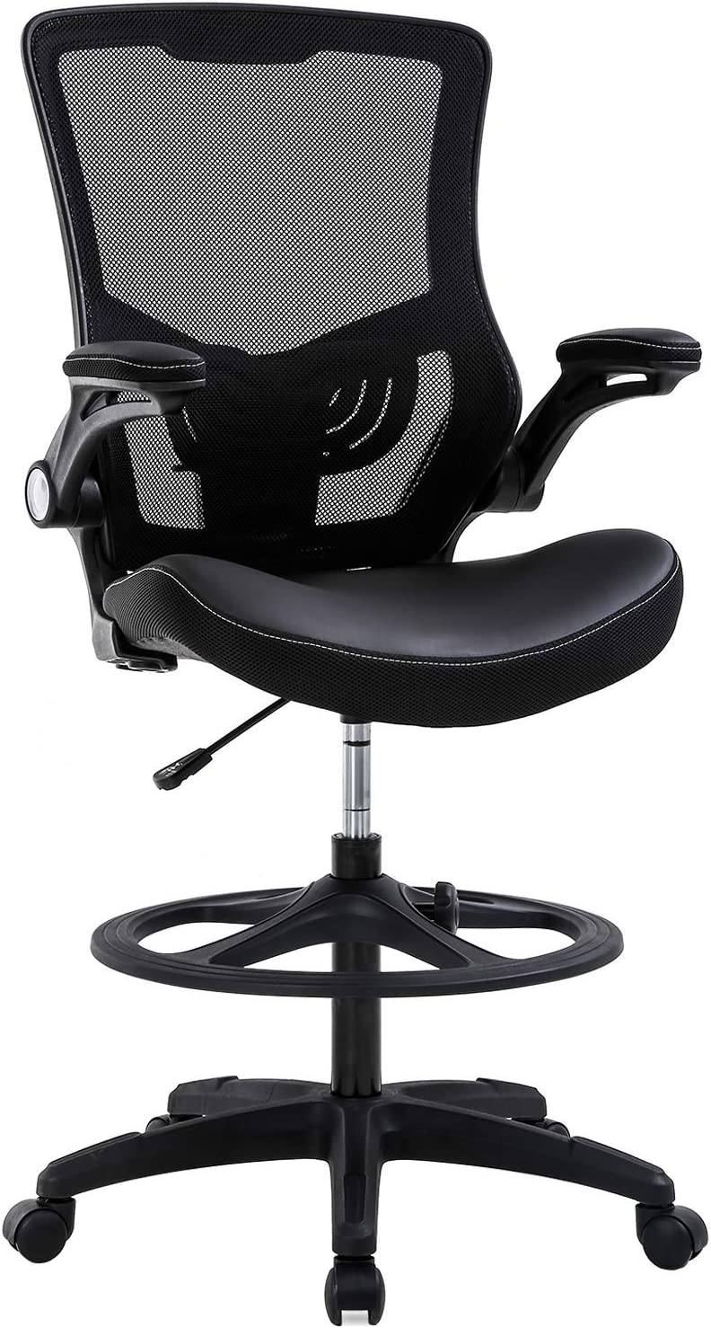 Drafting Chair Ergonomic Tall Office Chair with Flip Up Arms Foot Rest Back Support Adjustable Height Mesh Drafting Stool for Standing Desk Black Renewed