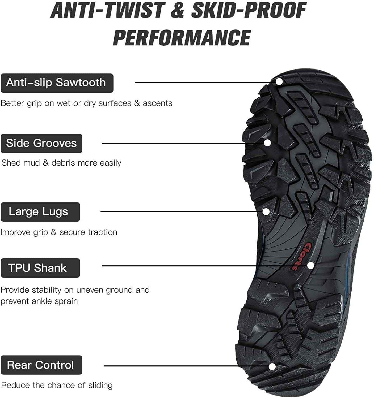 Clorts Waterproof Mens Hiking Boots Outdoor Lightweight Work Shoes Backpacking Trekking Trails