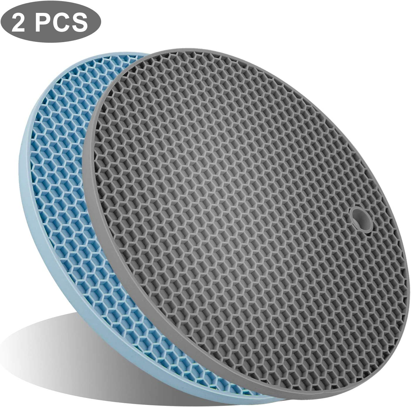 UXUNNY FDA Silicone Pot Holders, Kitchen Heat Resistant Trivets - Honeycomb Coasters & Nonslip Jar Openers, Hot Pot Pads, Hot Table Mat, Place Mats, Oven Mitts for Cooking & Baking (Blue & Gray)