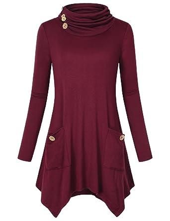 b61336f2945 Hibelle Women s Cowl Neck Asymmetric Hem Tunic Tops with Pockets ...