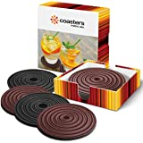 Reversible Coaster Metric USA 4 inches Set of 6 BLACK or BROWN Drink Coasters ABSORBS MOISTURE Ideal for Hot or Cold drinks