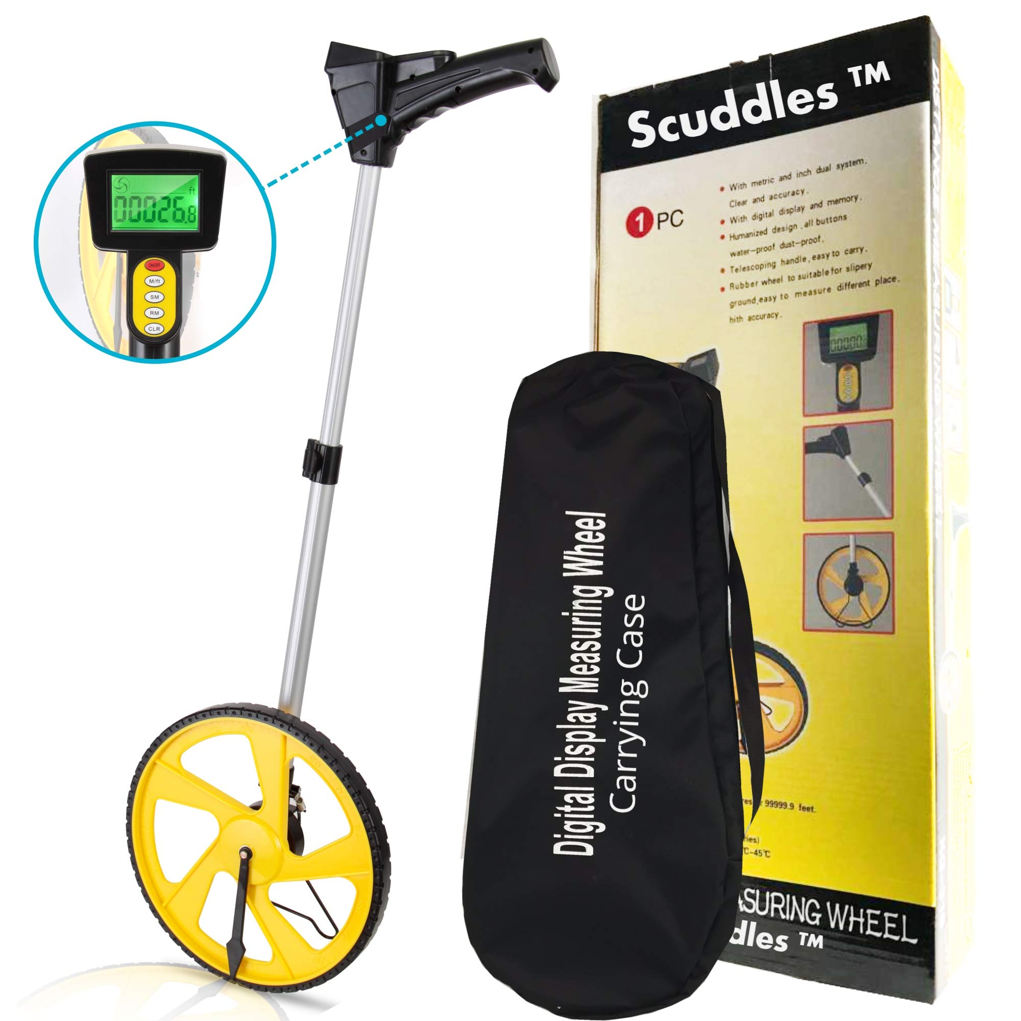 Scuddles Measuring Wheel Digital Display 12-Inch Can Measure Up To 10,000 Feet Perfect surveying Tool For Distance Measurment by scuddles