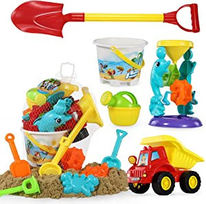 Kids Beach Sand Toys Set - 11PCS Outdoor Sandbox Toys with Bucket, Water Wheel, Dump Truck, Shovels, Rakes, Watering Can and Molds in Drawstring Bag
