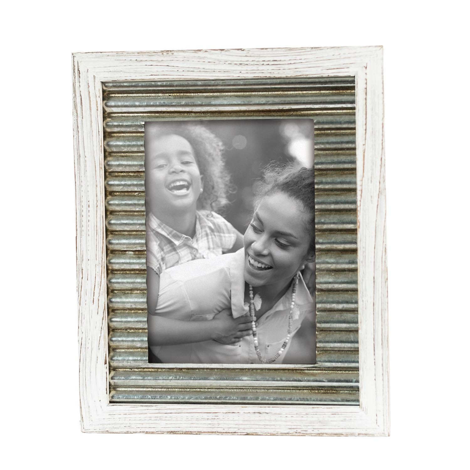 Foreside Home & Garden FFRD06112 5X7 Logan Distressed Frame White