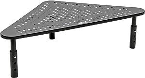 Tripp Lite Computer Monitor Stand, Corner Desk Monitor Stand for L Shaped Desk, Adjustable Height, 12 x 20 in, Metal, Black (MR1220M)