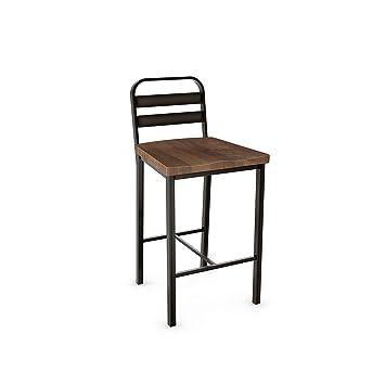 Admirable Amisco Accord Metal Counter Stool In Semi Transparent Gun Metal Finish And Medium Brown Distressed Wood Spiritservingveterans Wood Chair Design Ideas Spiritservingveteransorg