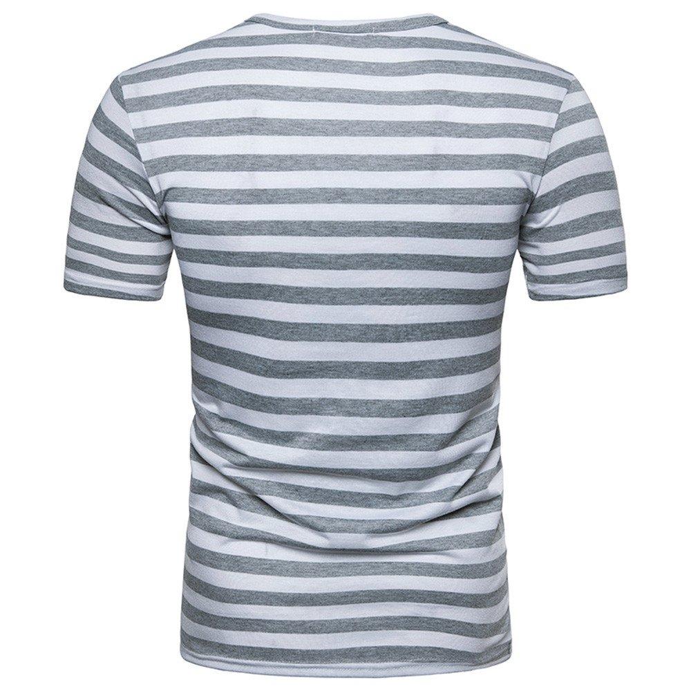AopnHQ Mens Shirt Fashion Mens Summer Striped Short Sleeve Casual Top T-Shirt