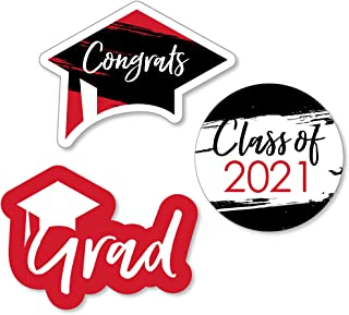 product image for Big Dot of Happiness Red Grad - Best is Yet to Come - DIY Shaped Red 2021 Graduation Party Cut-Outs - 24 Count