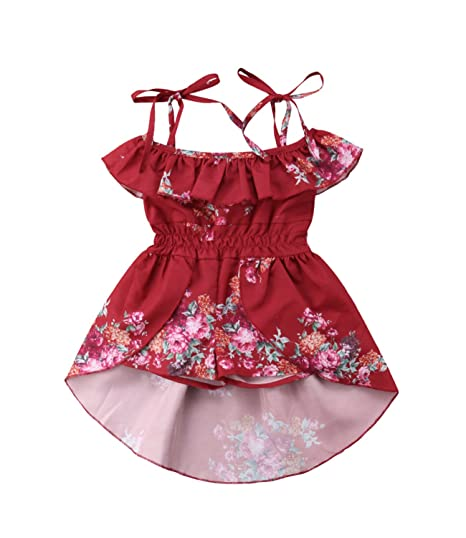 04f8102fefbc Amazon.com  FOCUSNORM Toddler Baby Girl Floral Halter Ruffled ...