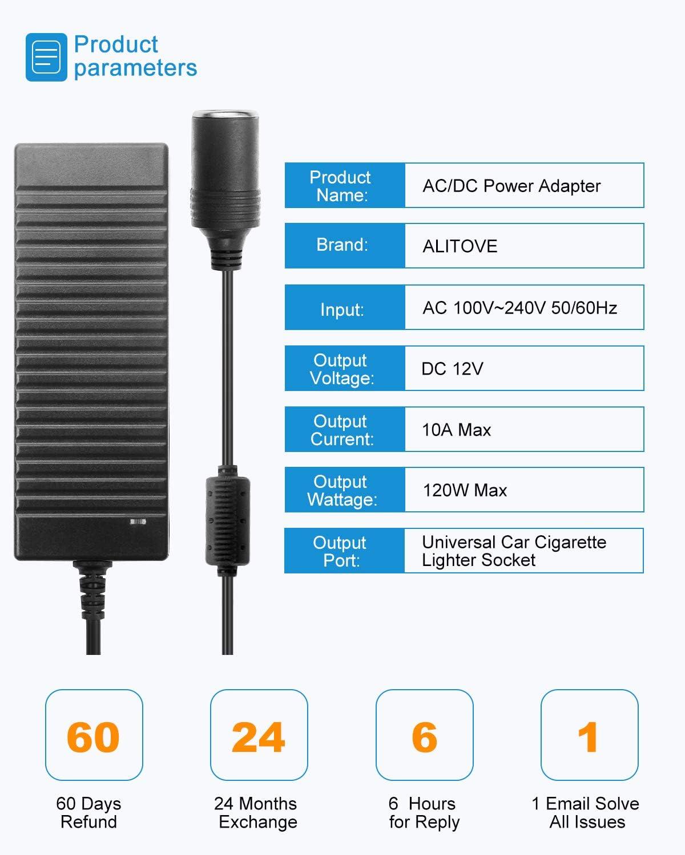 Amazon Com Adaptador De Fuente De Alimentación Alitove Ac A Dc 100 V 240 V A 12 V 10 A 120 W Adaptador De Alimentación Para Encendedor De Coche Refrigerador De Coche