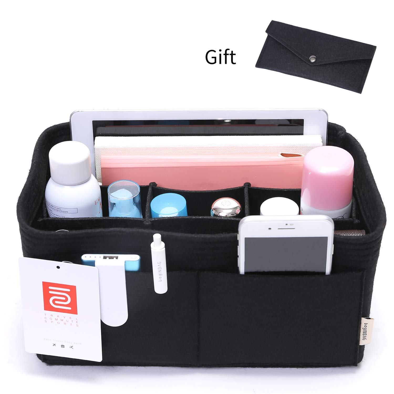IN Felt Purse Organizer,Handbag Organizer Insert for Speedy 30 Purse Liner Multi-Pocket Bag Divider Shaper Black (Medium: Fit LV Speedy 30, Black)