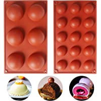 Juego de moldes de silicona de 15 / 6 agujeros, 2 paquetes de moldes de silicona para repostería para chocolate, pastel…