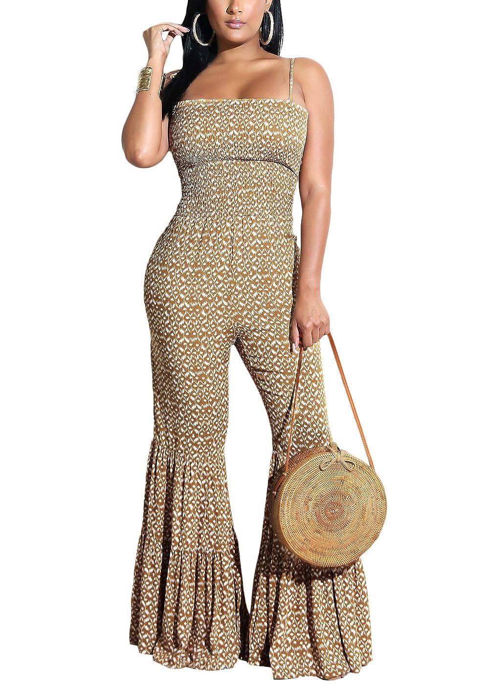 911095457ec4 Amazon.com  Yissang Women s Spaghetti Strap Print Wide Leg Long Pants Flare Jumpsuit  Romper Overalls  Clothing