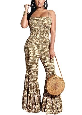 ad5cbfc95e35 Amazon.com  Yissang Women s Spaghetti Strap Print Wide Leg Long Pants Flare  Jumpsuit Romper Overalls  Clothing