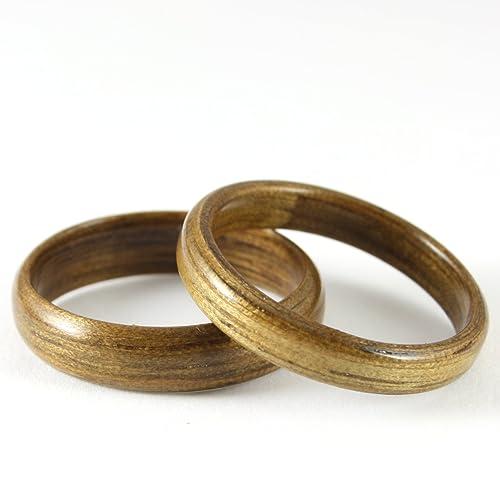 Amazoncom Wood Wedding Ring Set Indian Silver Greywood Wood