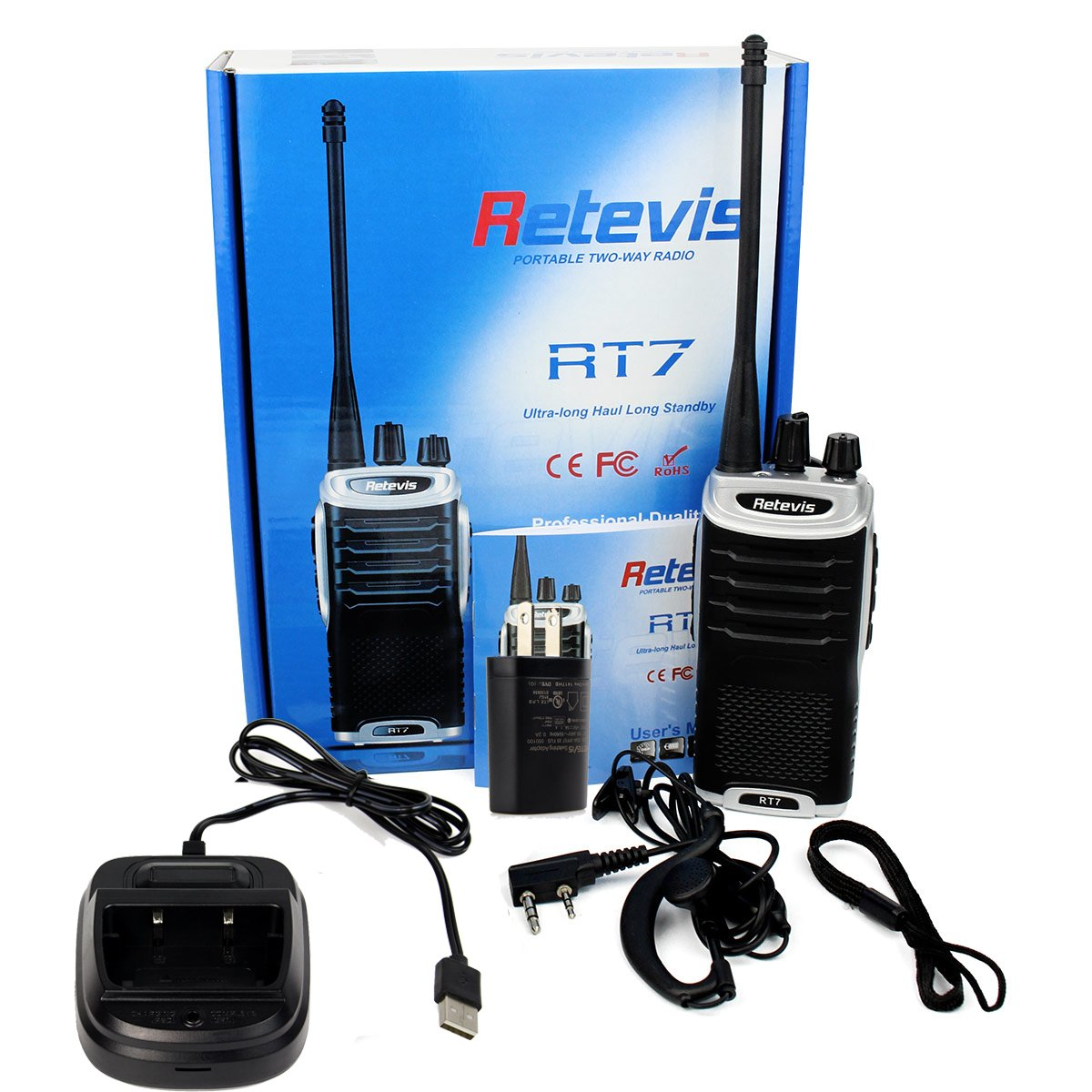 Retevis RT7 Walkie Talkies UHF 400-470MHz 3W 16CH Two Way Radio with Earpiece(20 Pack) and Programming Cable by Retevis (Image #7)