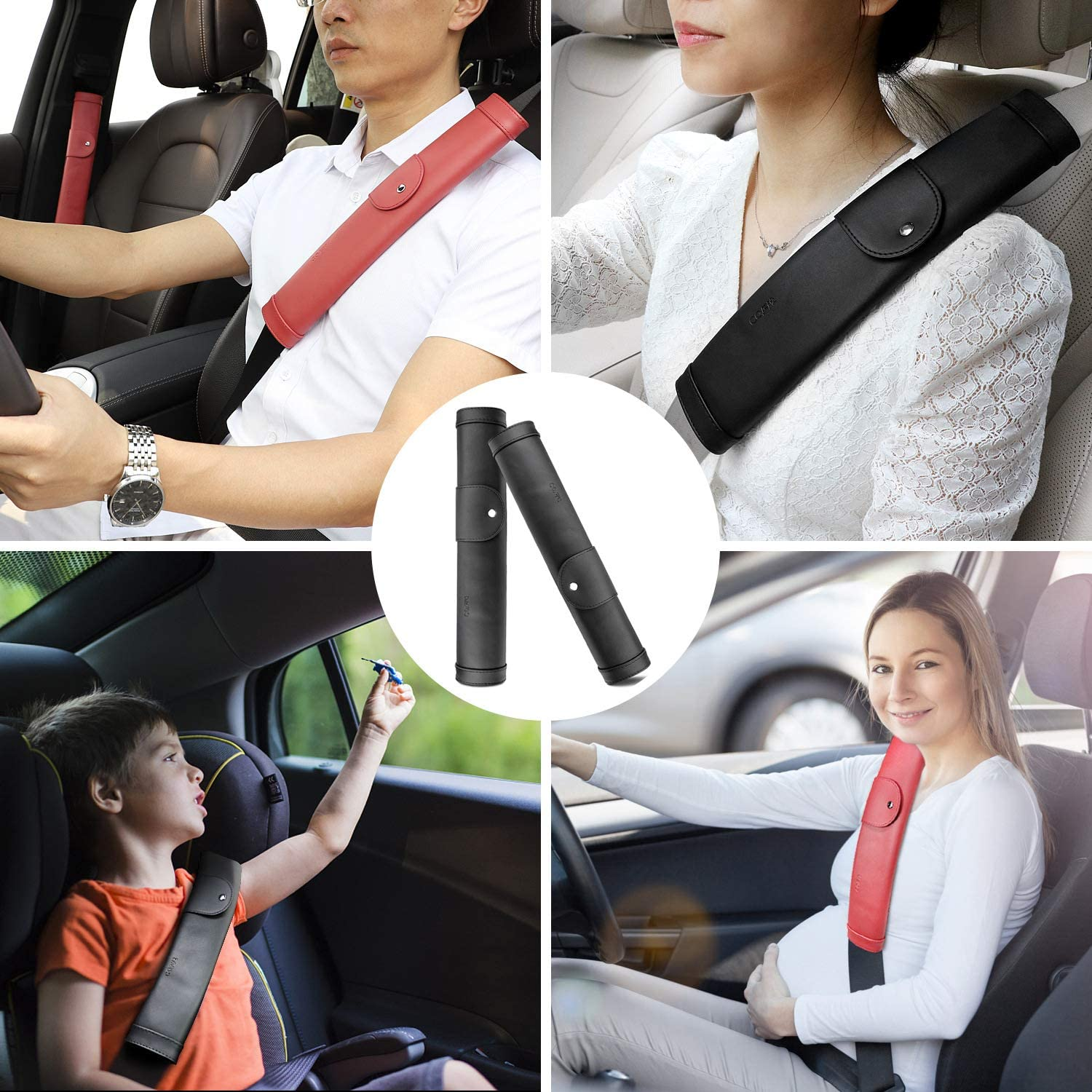 Pack of 2 COFIT Seat Belt Pads Extended Black 13 Long Pads with More Comfort Shoulder Protection for Your Driving and Journey
