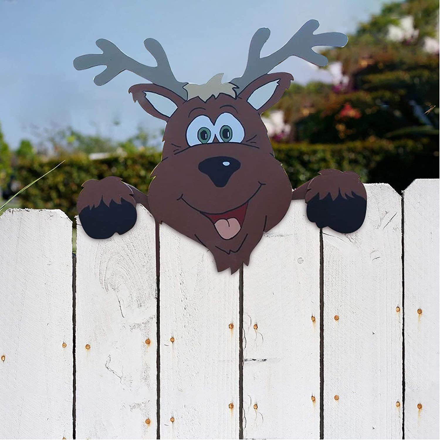 HCBY Christmas Yard Art Fence Peeker, Animal Fence and Garden Peeker, Charming Christmas Peeks at Elk,for Home Outdoor Yard Lawn Pathway Parking Fence Walkway Driveway Holiday Decorations