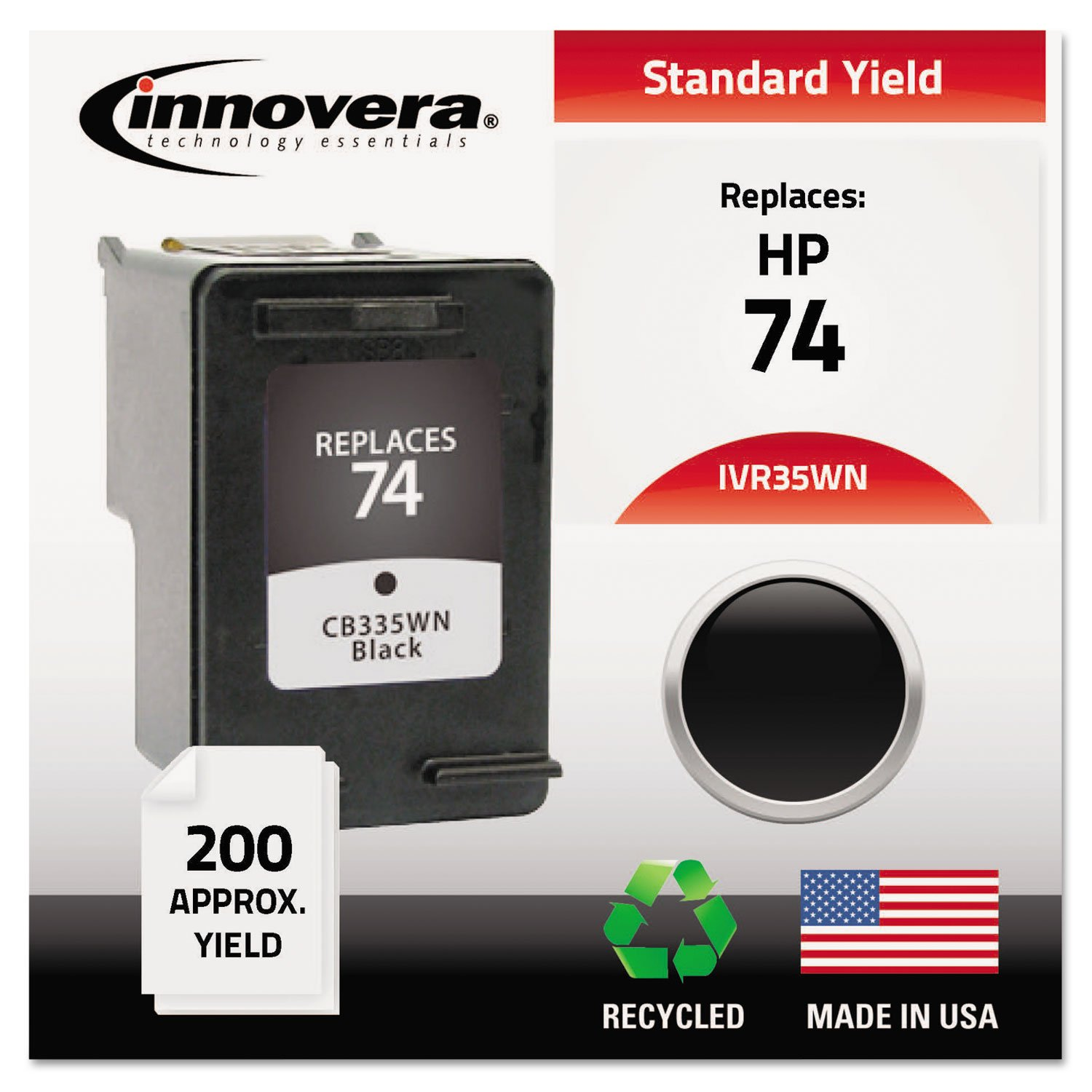 Innovera 35WN Compatible, Remanufactured, CB335WN (74) Ink, 200 Page-Yield, Black