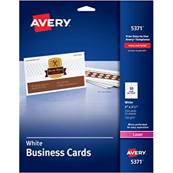 Amazon avery printable business cards laser printers 250 avery printable business cards laser printers 250 cards 2 x 35 5371 cheaphphosting Gallery