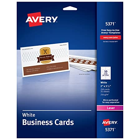 Amazon avery printable business cards laser printers 250 amazon avery printable business cards laser printers 250 cards 2 x 35 5371 business card stock office products fbccfo Gallery