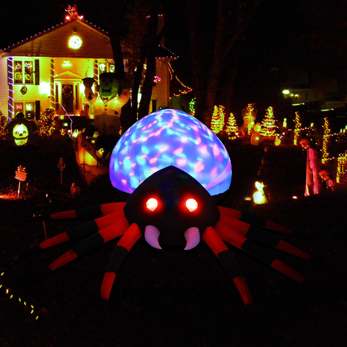 YUNLIGHTS Halloween Decorations 8ft Inflatable Spider Decor Built-in LED Lights with Anchoring Stakes for Outdoor, Yard, Garden,Lawn,Party