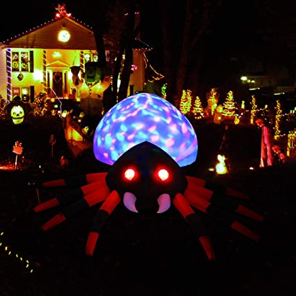 yunlights halloween decorations 8ft inflatable spider decor built in led lights with anchoring stakes for