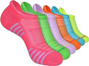 LITERRA Womens Ankle Socks 6-Pairs Athletic Running Low Cut Socks Cushioned