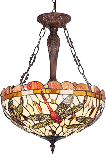 Cotoss Tiffany Hanging Light, Stained Glass Dining Room Lighting Fixtures Hanging, 18 Inch Wide Hanging Lamp, Pendant Light, 3 Light Ceiling Light, Victorian Lampshade Hanging Fixture