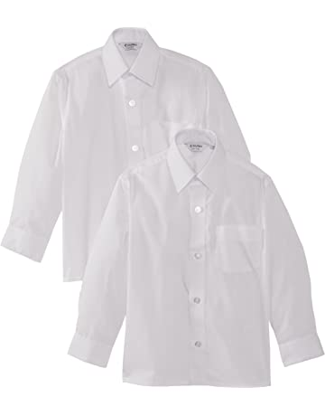 c498799d5 Trutex Limited Boy's Long Sleeve Easy Care Plain Shirt (Twin Pack)