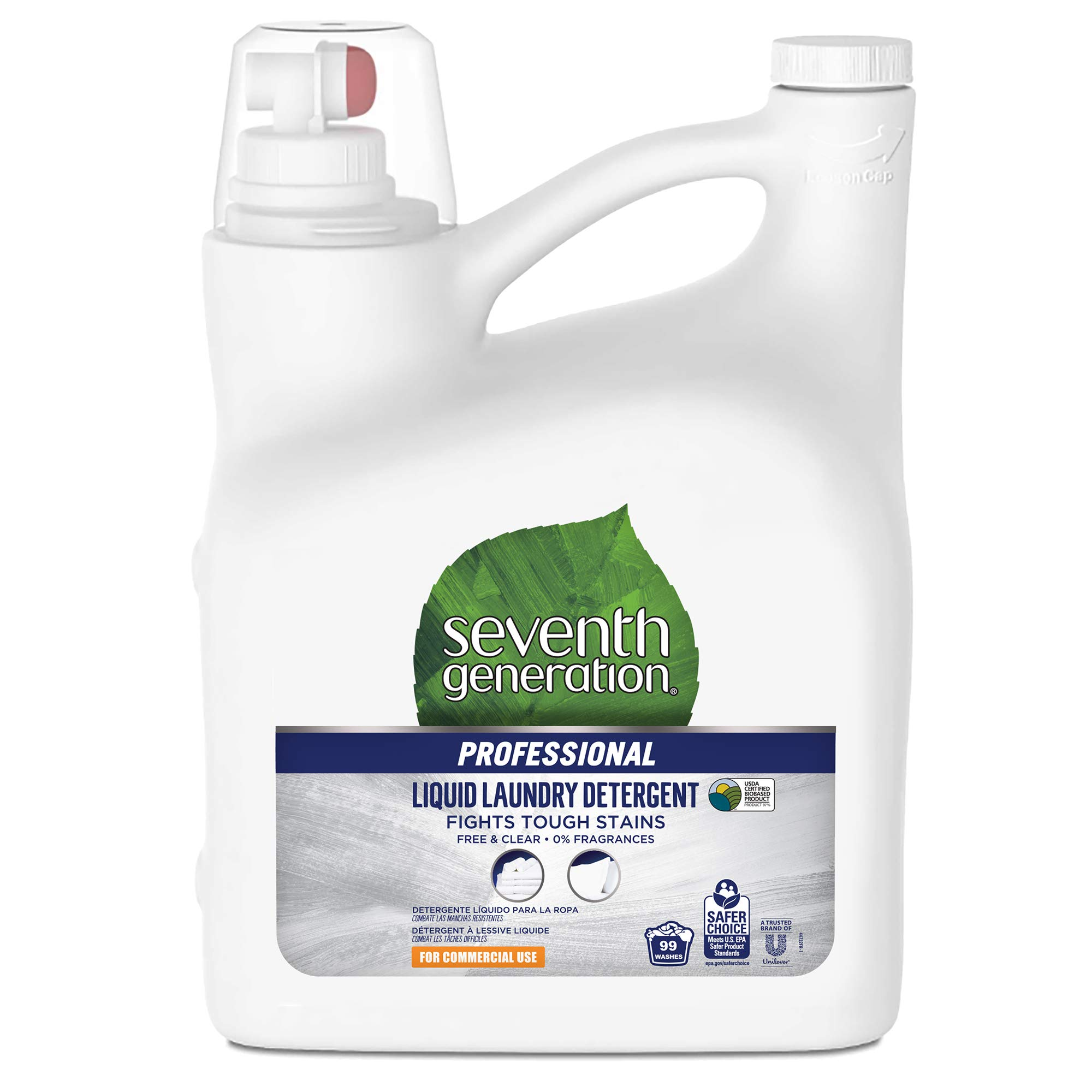 Seventh Generation Professional Liquid Laundry Detergent, Free & Clear, Hypoallergenic, Unscented, 150 fl oz (Pack of 4) by Seventh Generation Professional
