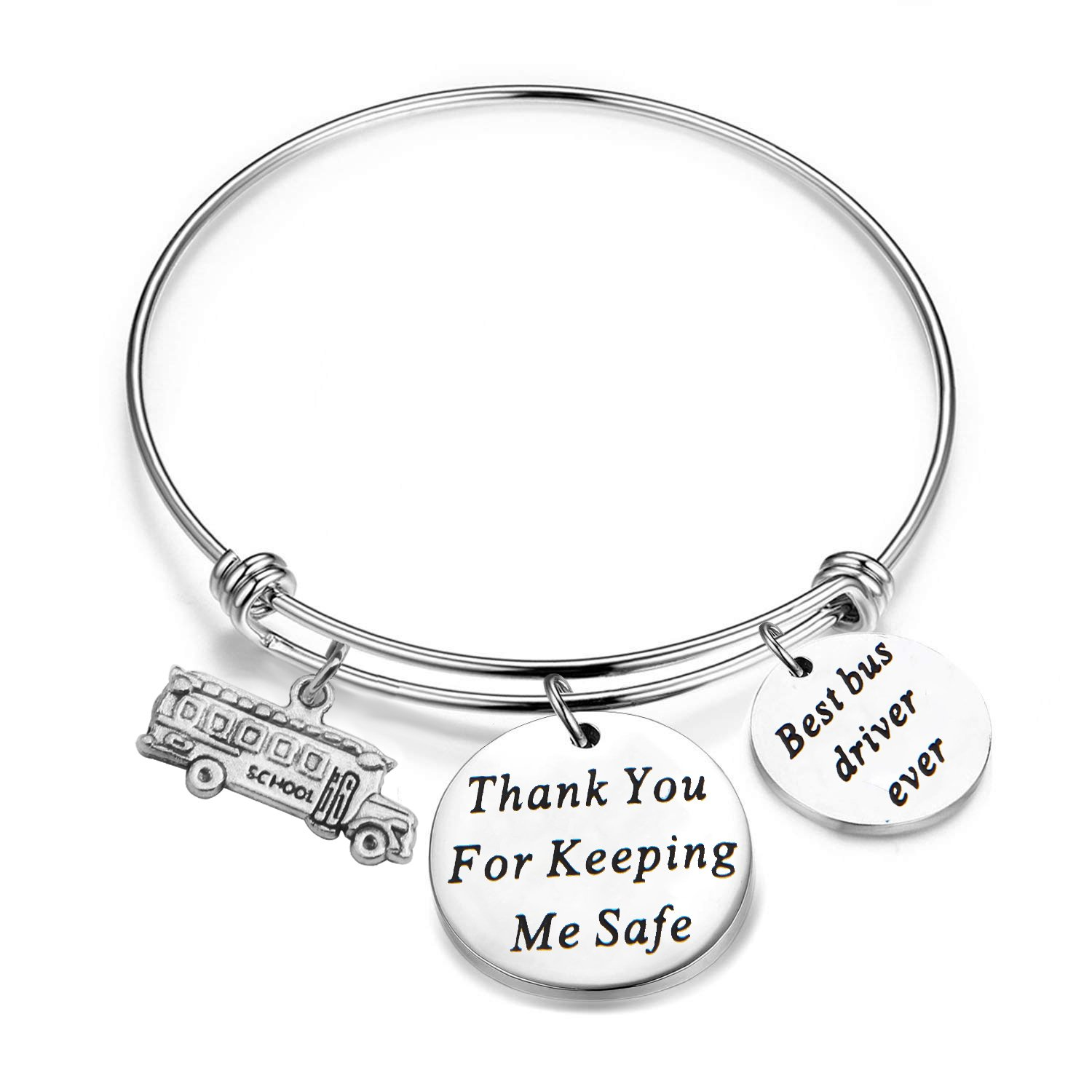 SEIRAA Drive Safe KeyChain Bus Driver Keychain Thank You For Keeping Me Safe Bus Driver Appreciation Gift For Driver (Bus Driver Bracelet)