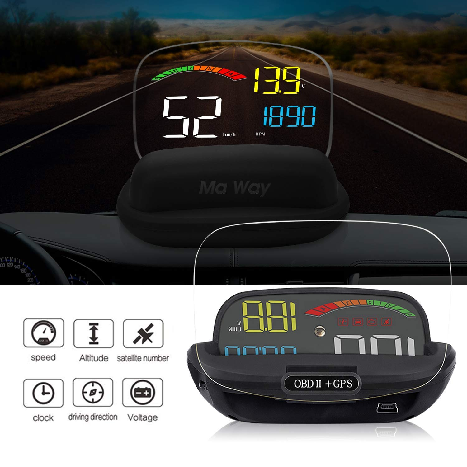 VGEBY Multi-function Car 5.5 HUD Head Up Display Speeding Fuel Warning Windshield Projector System with OBD2 EUOBD Interface
