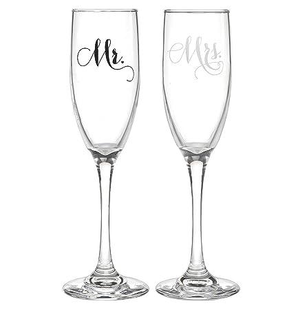 Amazon All Things Weddings Mr And Mrs Wedding Glass