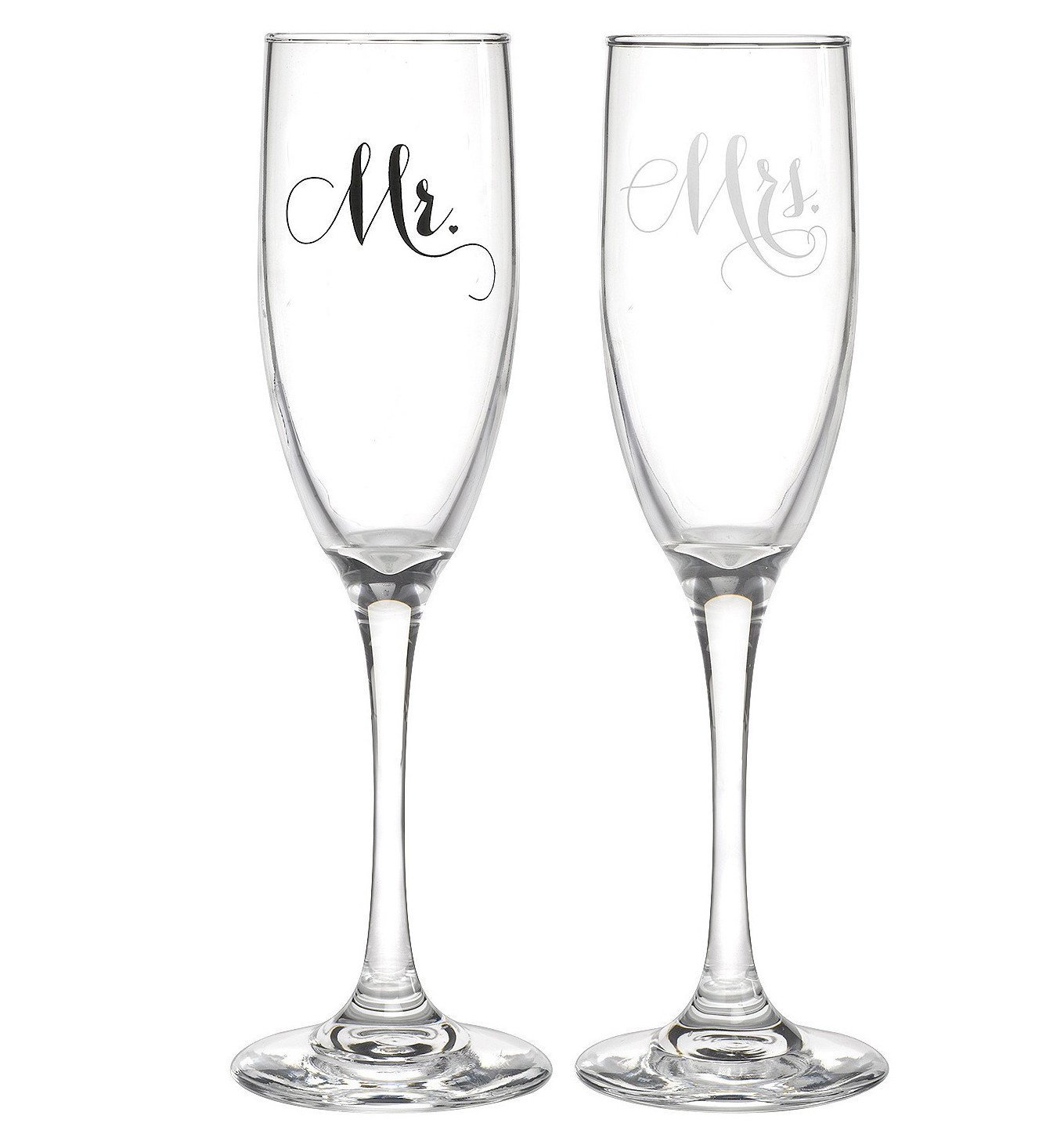 All Things Weddings, Mr. and Mrs. Wedding Glass Champagne Toasting Flutes, Reception or Engagement Bride and Groom Glasses, Set of 2 by All Things Weddings (Image #1)