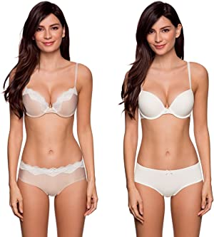 4b53834cb2dca8 Pack includes 1pc in blush with a contrast lace trim and small satin bow in  the center. The 2nd piece is in a solid white colour.