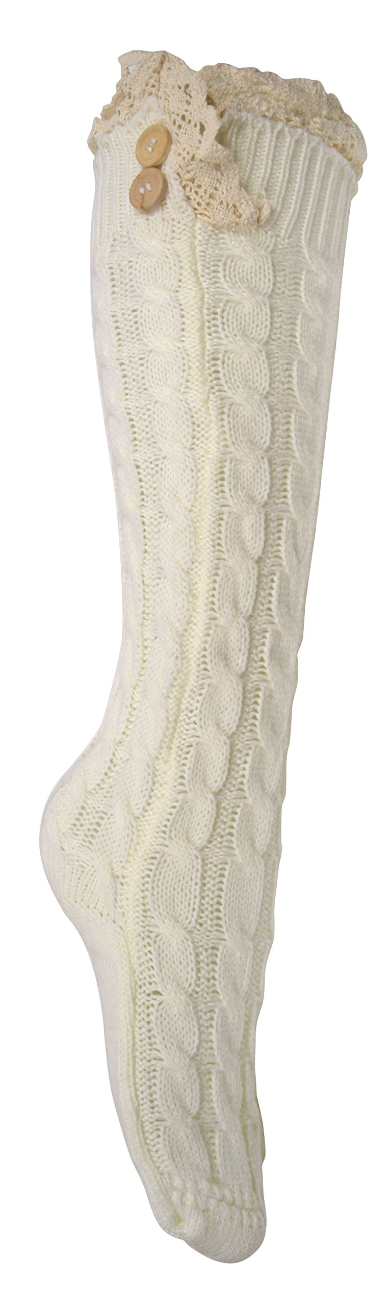 Peach Couture Cable Knit Boot Socks with Lace & Buttons Vintage Victorian Style