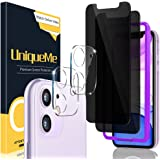 [2+2 Pack] UniqueMe Compatible for iPhone 11 6.1 inch Anti Spy Privacy Screen Protector and Camera Lens Protector Compatible,