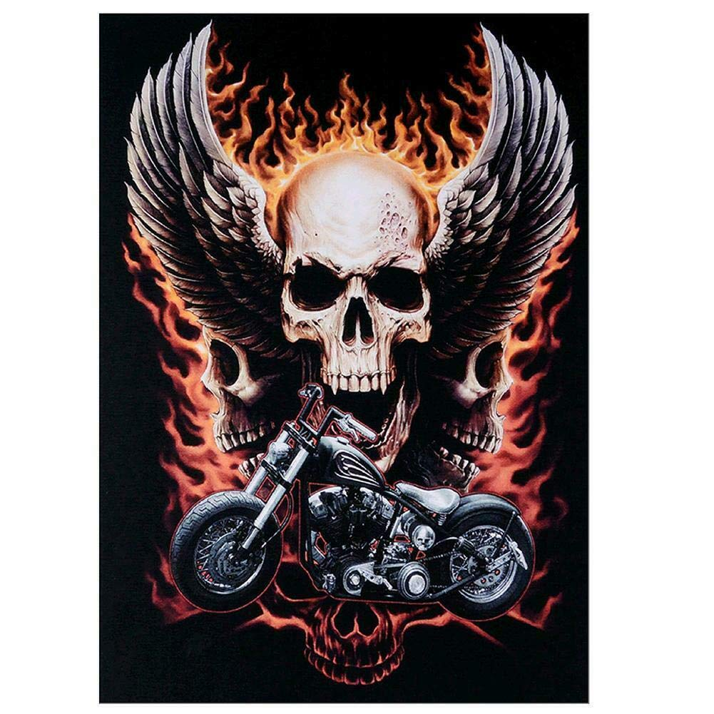 15.75 inch DIY 5D Diamond Painting Kit Halloween Skull Motorcycle Embroidery Cross Stitch Arts Craft Canvas for Home Wall Decor 11.81