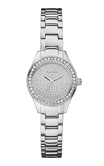 Guess - Reloj de Cuarzo para Mujer, con Correa de Acero Inoxidable, Color Plateado: Amazon.es: Relojes