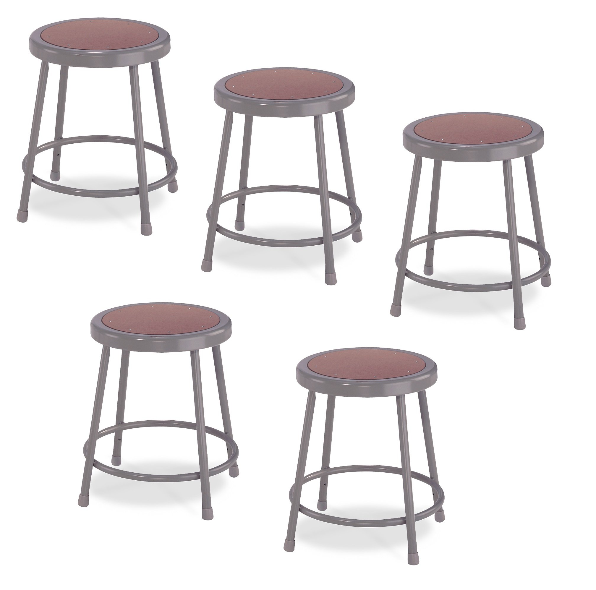 (5 Pack) National Public Seating 18'' Heavy Duty Steel Stool, Grey by National Public Seating