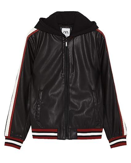 Zara Men Faux Leather Jacket With Hood 8281 468 Black At Amazon