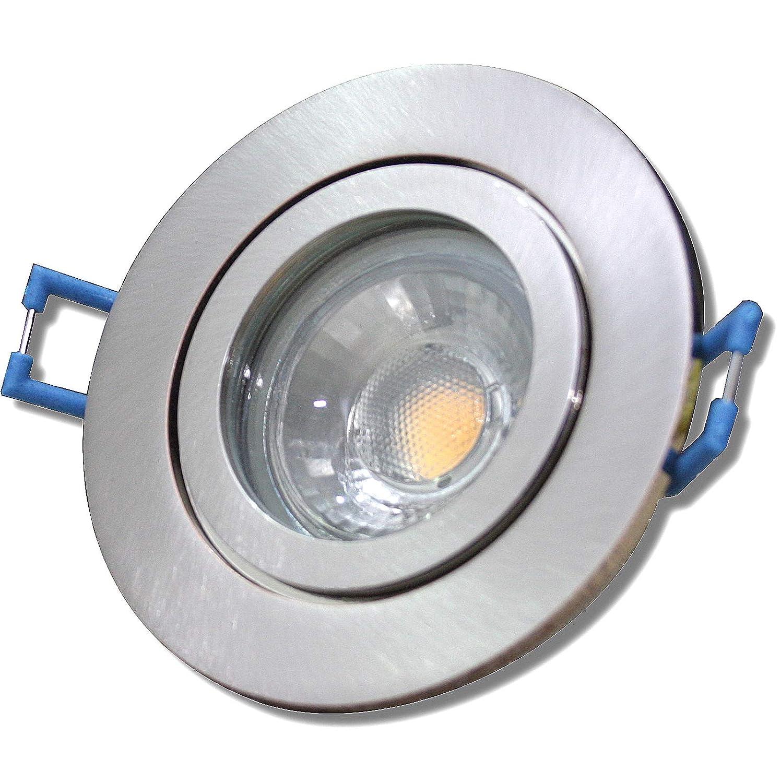 6 Stück IP44 MCOB LED Bad Einbauleuchte Neptun 12 Volt 3 Watt Rund Eisen geb.   Warmweiß